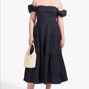 STAUD NWT Elio Off Shoulder Tiered Midi Dress 16
